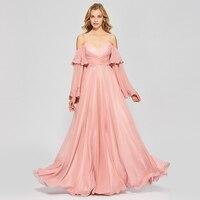 Tanpell lungo prom dresses brillante rosa scuro completa maniche pavimento lunghezza di una linea donne del vestito senza spalline partito prom personalizzati abito