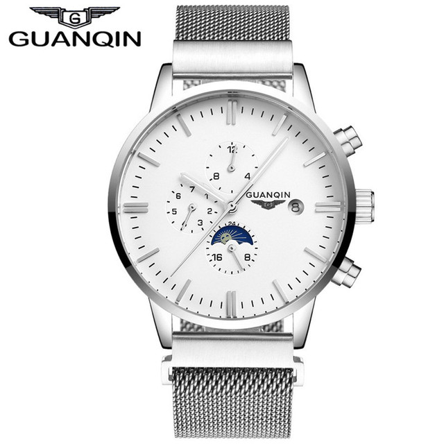 GUANQIN GJ16045 2017 New Fashion Luxury Brand Watch Men Automatic Date Clock Male Mesh Band Waterproof Mechanical Wristwatch