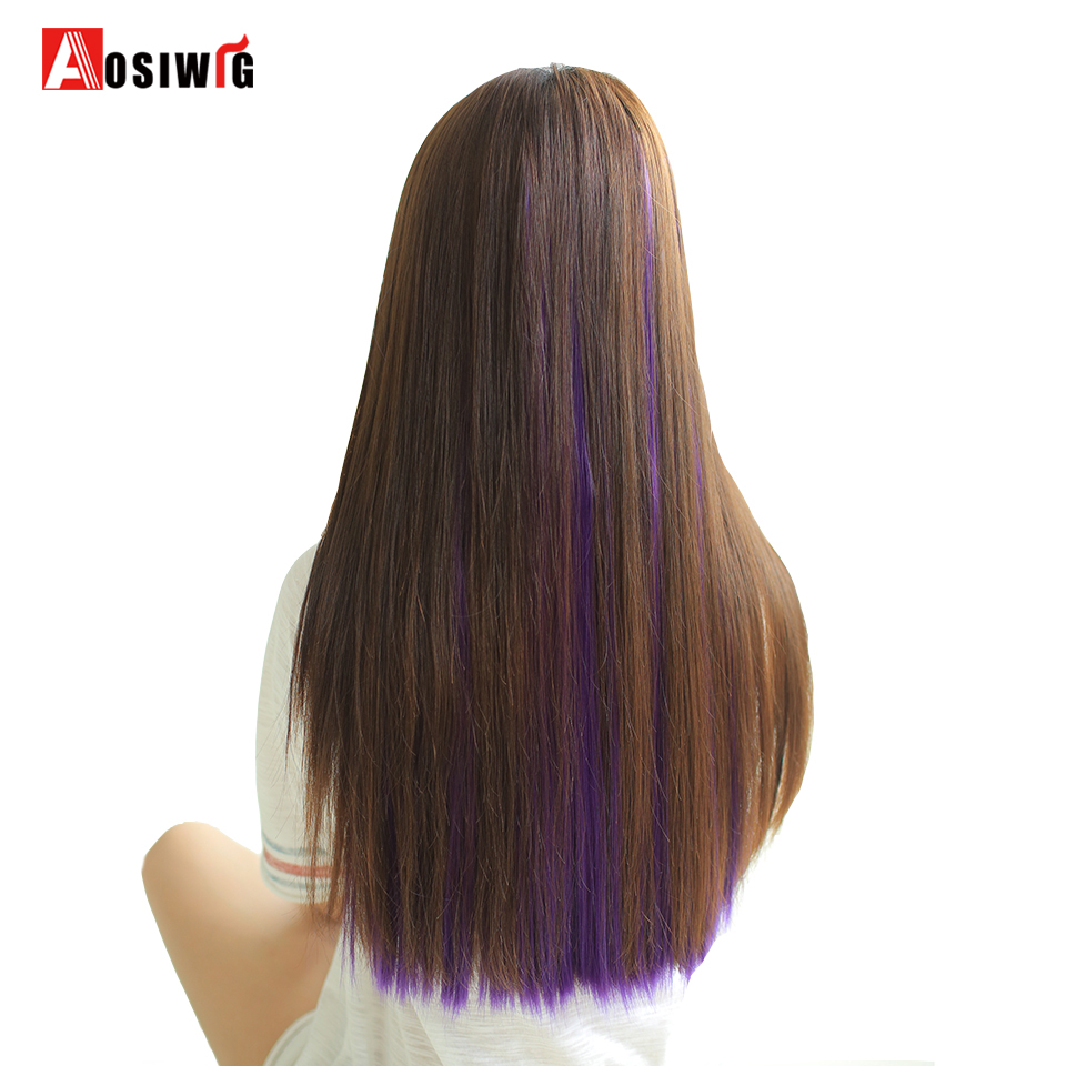 AOSIWIG Hair Extensions Pure Color Long Straight Synthetic Hair High Temperature Fiber Hair One Piece Hair Extensions