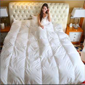 100% Cotton White Pink Beige Solid Color Design Autumn Winter Warm Quilted Duvet Thickening White Goose Down Quilt