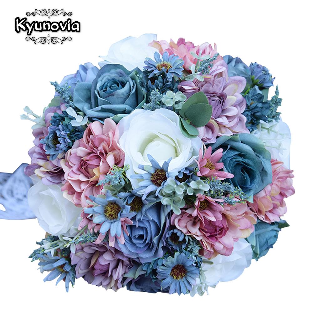 Kyunovia Vintage Blue Silk Wild Flowers Bouquet for Wedding Plain Color Bridal Bouquet Wedding Centerpieces Home