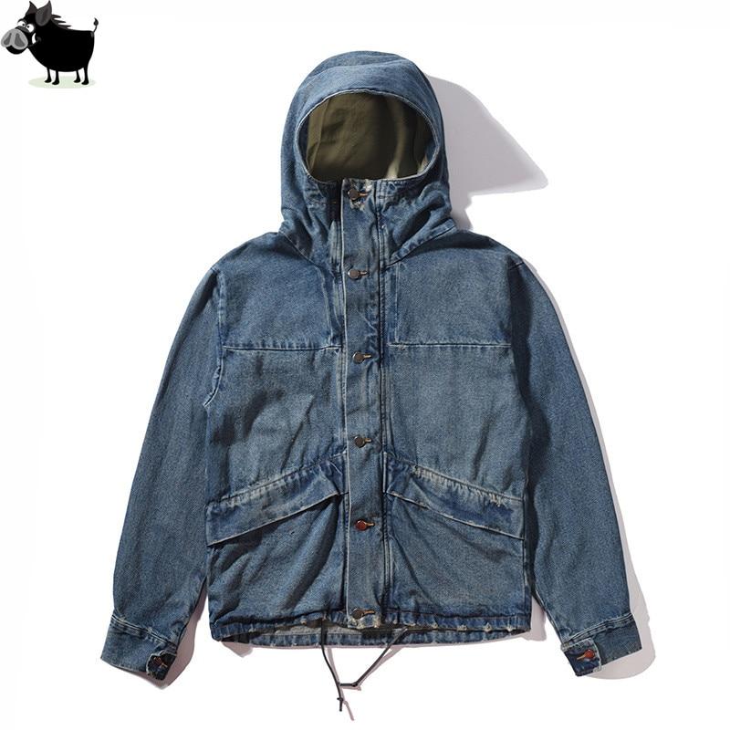 Haute qualité mode décontracté veste hommes rue bleu veste Hip Hop haute rue costume Denim veste avec capuche hommes M-XL