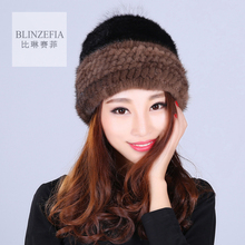 2016 Knitted Natural Mink Fur Hats For Women Winter Warm Russian Beanies Cap with Sillver Fox Fur Pom Pom Real Fur Hat JQ6043