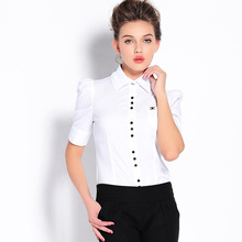 2019 Spring Summer Short Puff Sleeve Solid Office Lady Body Conjoined Shirt Business Attire Women Slim Causal OL Shirts Blouses