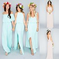 Mixed Chiffon Split Side Slit High Custom Made Maid Sexy Boho Party Gowns 2016 Summer Beach Bohemian Bridesmaid Dresses 0701