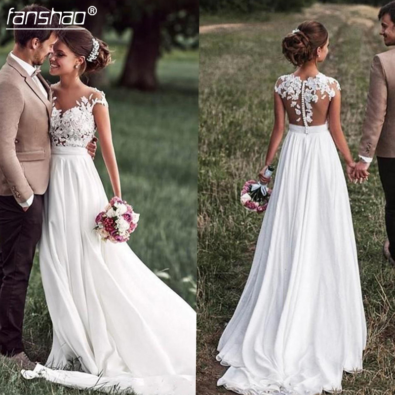 2019 Sweetheart Beach Wedding Dress Lace Appliques Bride Dress New Cap-Sleeves Slit Side Buttons White/Ivory Wedding Dresses