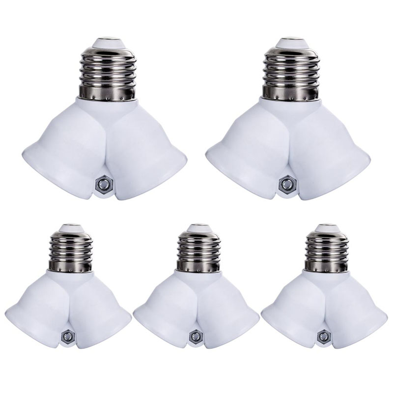 5PCS E27 Base Light Lamp Bulb Socket 1 to 2 Splitter Adapter Converter Socket E27 Y Shape Splitter Adapter