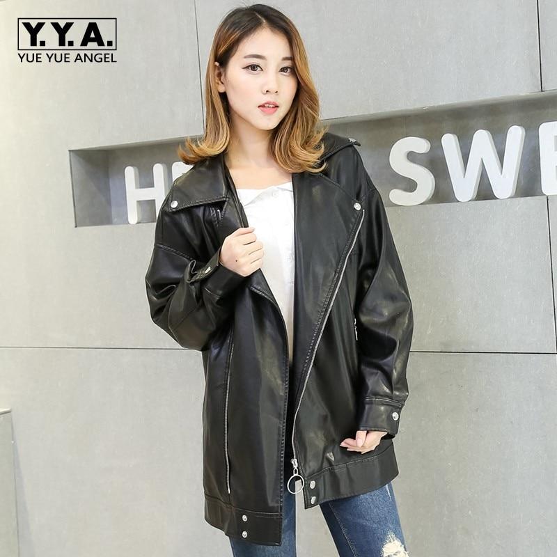 European Women Oversize PU   Leather   Jackets Boyfriend Retro Motor Rock Coat Female Loose Black Jacket Coats Large Size XS-4XL