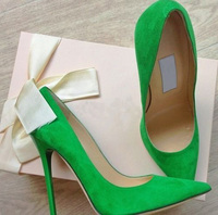 2015 Spring Summer Wholesale Price Green Pink Beige Suede Pointed Toe Concise Model Stiletto Heel Pumps