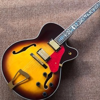 Corpo oco JAZZ L5 guitarra elétrica maple top guitarra Jazz amarelo vendas direto da Fábrica, duplo F buraco