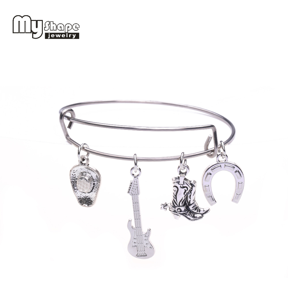 my shape Country Girl Cowgirl Style Jewelry Stainless Steel Adjustable Wire Bangle With Cowboy Boots & Guitar Charms Bracelet