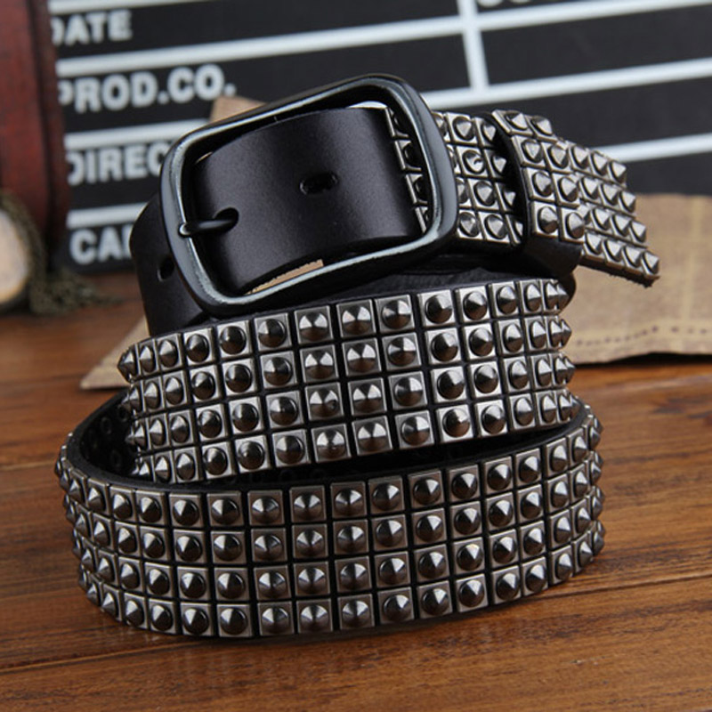 2018 Men Genuine Leather Belts Cowskin Punk Style Rivet Belt Jeans Belts Black Coffee Brown Quality Guarantee ZH405
