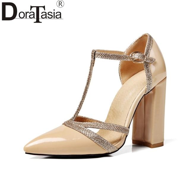 elegir despacho auténtico exuberante en diseño € 25.8 40% de DESCUENTO|DoraTasia tallas grandes 34 47 zapatos de tacón  alto con tiras en T para mujer zapatos con hebilla para fiesta de verano ...