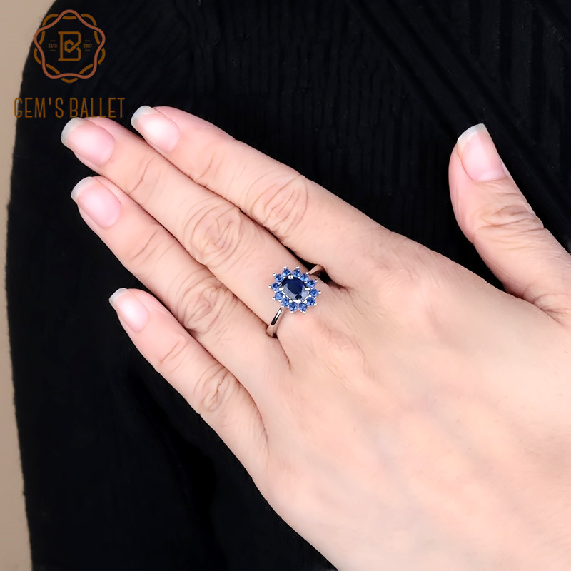 Gem's Ballet 1.89Ct Natural Blue Sapphire Gemstones Ring 925 Sterling Silver Vintage Flowers Rings For Women Gift Fine Jewelry
