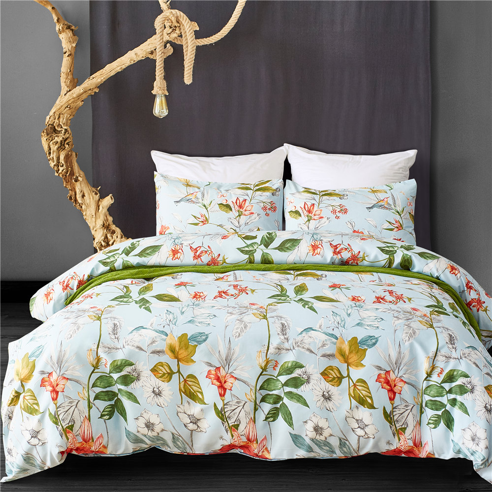 US $18.24 54% OFF|Pastoral Bed Linen Set Palms Floral Bedclothes Microfiber  White Duvet Cover Set Queen Twin Bed Comforter King Bedding Sets-in ...