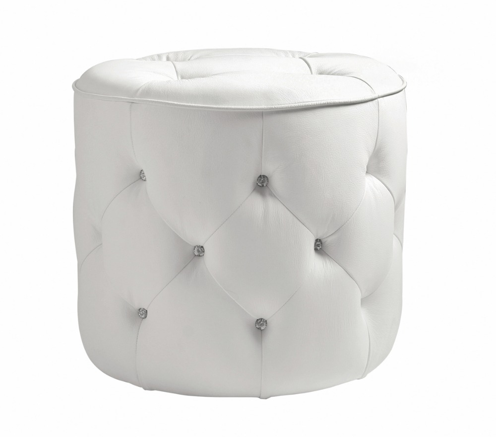 unique post modern style top graded cow real leather ottoman/stool living room home furniture round shape crystal buttons unique post modern style top graded cow real leather ottoman stool living room home furniture round shape crystal buttons