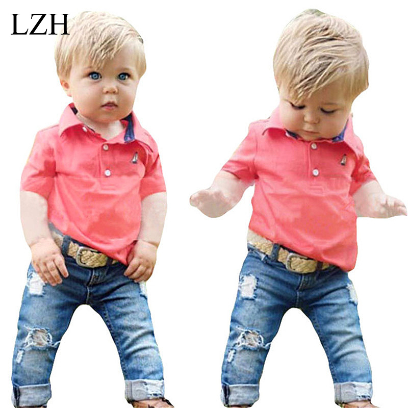 LZH 2017 New Summer Baby Boys Clothes Sets Short Sleeve T shirts Jeans 2pcs Outfits Kids