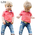 LZH 2017 New Summer Baby Boys Clothes Sets Short Sleeve T-shirts + Jeans 2pcs Outfits Kids Boys Sport Suit Children's Clothing