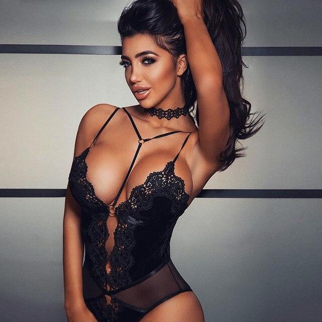 2018 Sexy Halter Lace Bodysuit Women Club Black Backless Deep V Neck Body Top Romper Feminino Summer Party Strap Overalls White 2