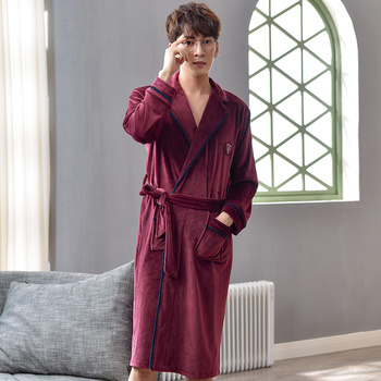 Mens robes winter thicken Island velvet high-grade autumn dressing gowns for men plus size fashion solid color male bathrobe 3XL
