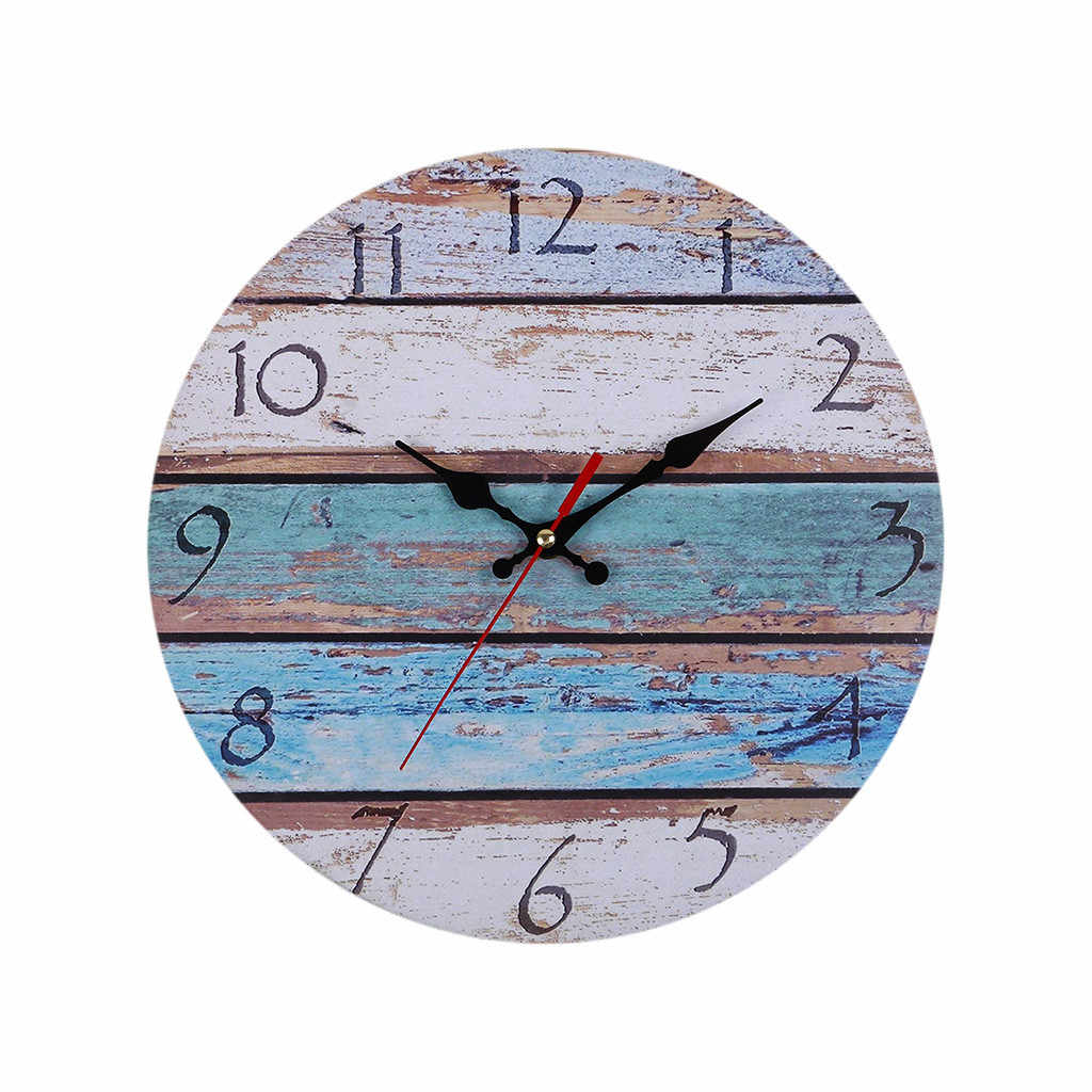 3D DIY Quartz Clocks Vintage Rustic Wooden Wall Clock Antique Shabby Retro Watches Home Kitchen Room Decoration Living Room
