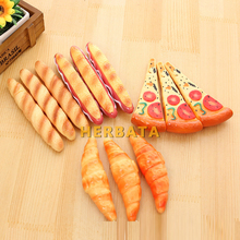 أقلام حبر جاف على شكل بيتزا هوت دوج ، أدوات مكتبية كورية ، إبداعية ، شكل خبز ، قلم يدوي ، خرز ثلاجة