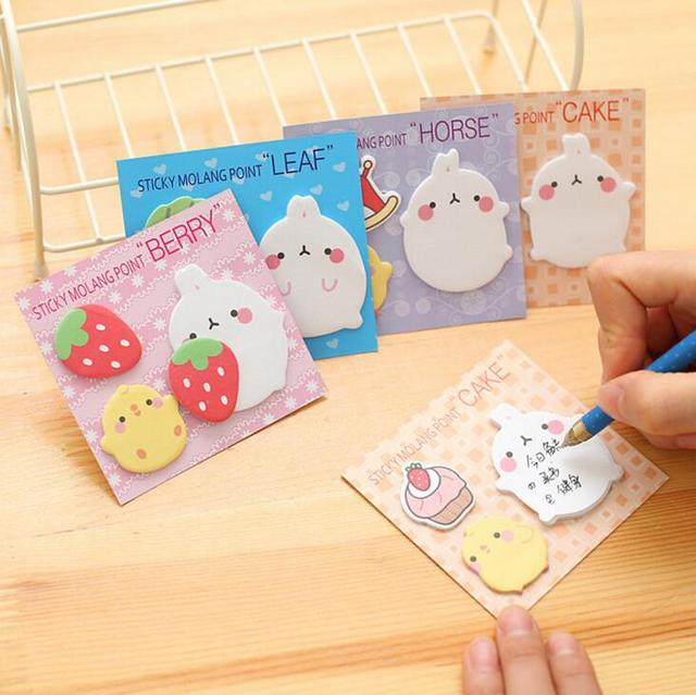 Nueva Llegada Lindo Molang Conejo N Veces Autoadhesivo Pad Memo Sticky Notes Post It Bookmark School Office Supply