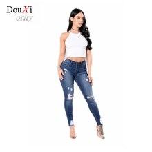 Douxiority Mujer Cotton Hole Boyfriend Pencil Pants Skinny Denim Capri Jeans Femme Stretch Plus Size Female