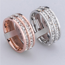New Fashion Brand Design gold plated Stainless Steel Rings For Woman full Crystal Jewelry  love Rings for men women