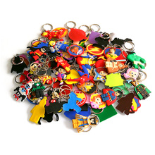 50pcs/lot Mix Style PVC Cartoon Key Chain Mickey Star Wars Marvel Avengers Ring Trinket Holder Send at Random