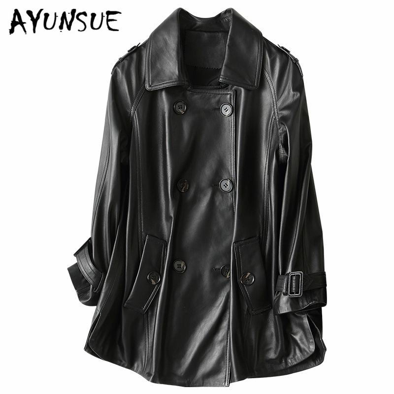 AYUNSUE Spring Genuine Leather Jacket Women 2019 Fashion Real Sheepskin Coat Motorcycle Black Leather Female Jacket 69053 LW363