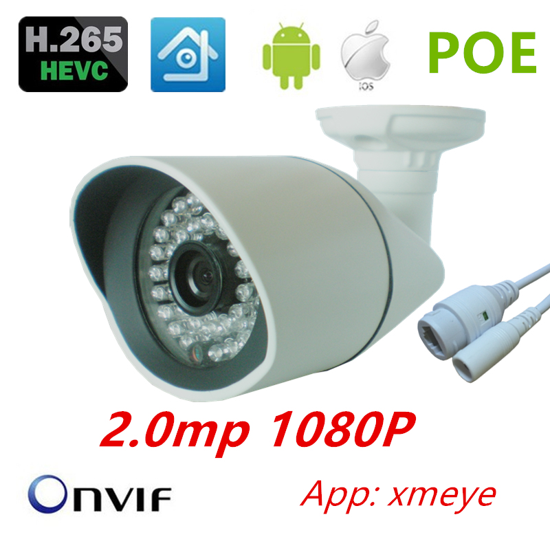 IEE802.3af PoE IP Camera H.265 Full HD 1080P 2MP onvif xmeye IP Camera Indoor outdoor Waterproof  Camera IP H.265 1080P