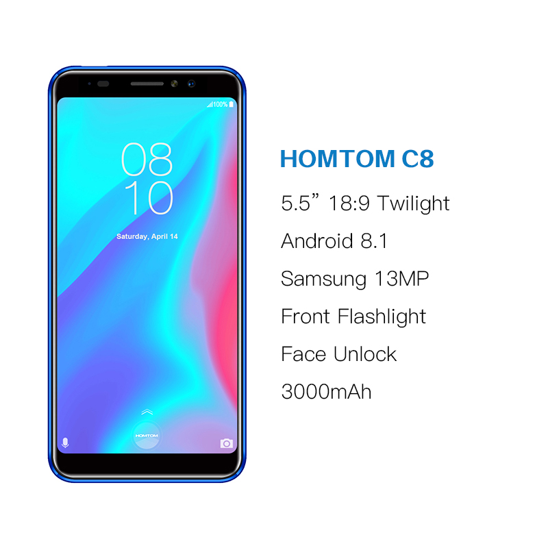 HOMTOM C8 Mobile Phone 5 5 quot 18 9 Full Display Android 8 1 MT6739 Quad Core 2GB 16GB Smartphone Face Unlock Fingerprint ID 4G FDD in Cellphones from Cellphones amp Telecommunications