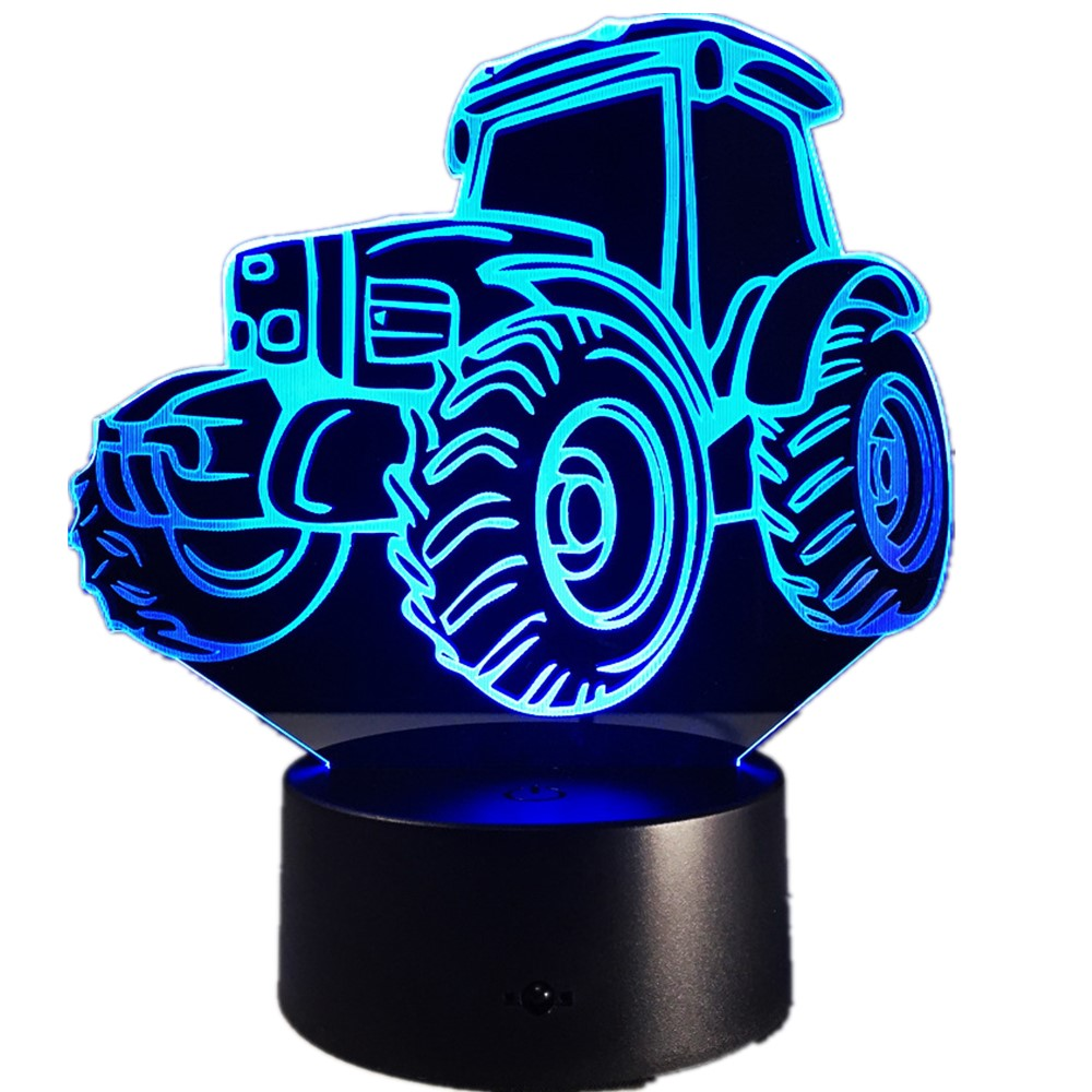 Motor Tractor Car 3D Deco Light Automobile Shape USB Charge Touch Switch Lamp Colorful Kids Night Light For Farm Deco Free Ship