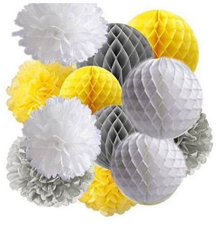 12pcs Yellow Grey White Tissue Paper Pom Pom Honeycomb Balls Baby