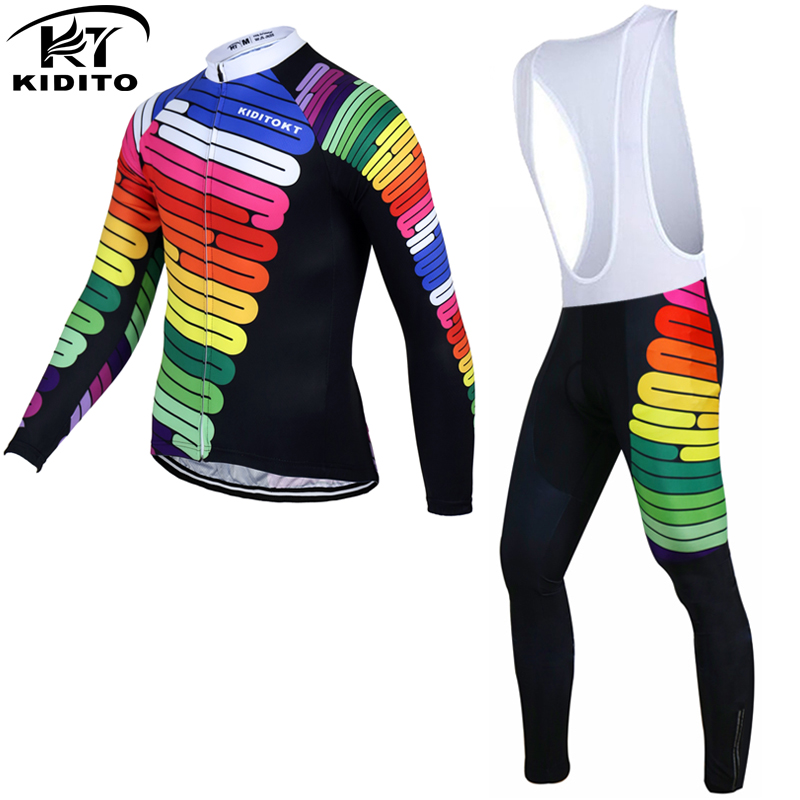 ФОТО KIDITOKT 2017 Long Sleeve Cycling Jersey Sets MTB Cycling Clothing Bicycle Maillot Ropa Ciclismo Sportswear Bike Clothes Suit