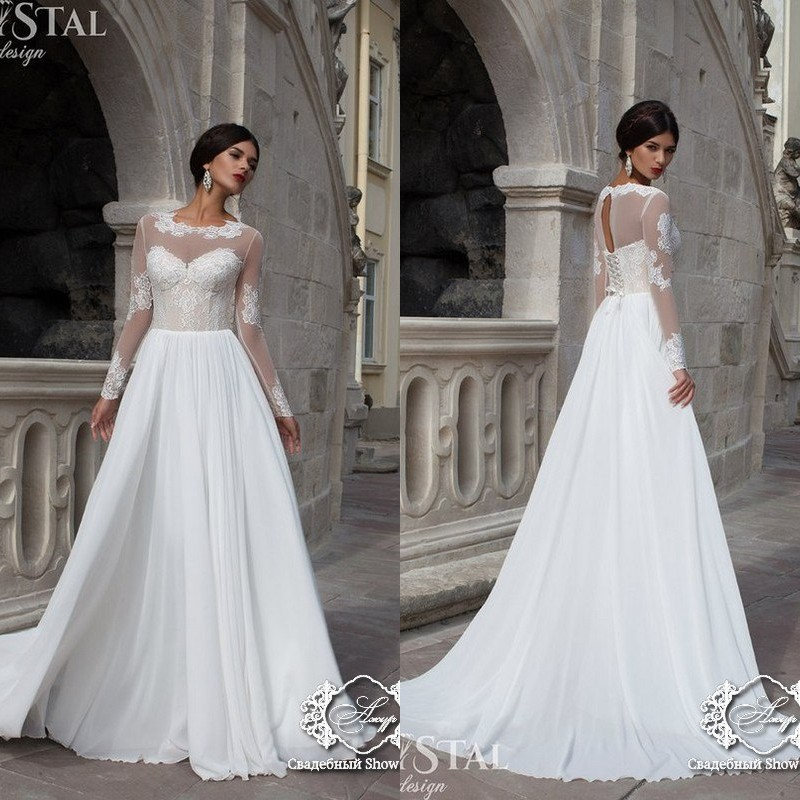 Discount Designer Wedding Gowns: 2017 Sheer Neck Long Sleeve Crystal Designer Wedding Dress