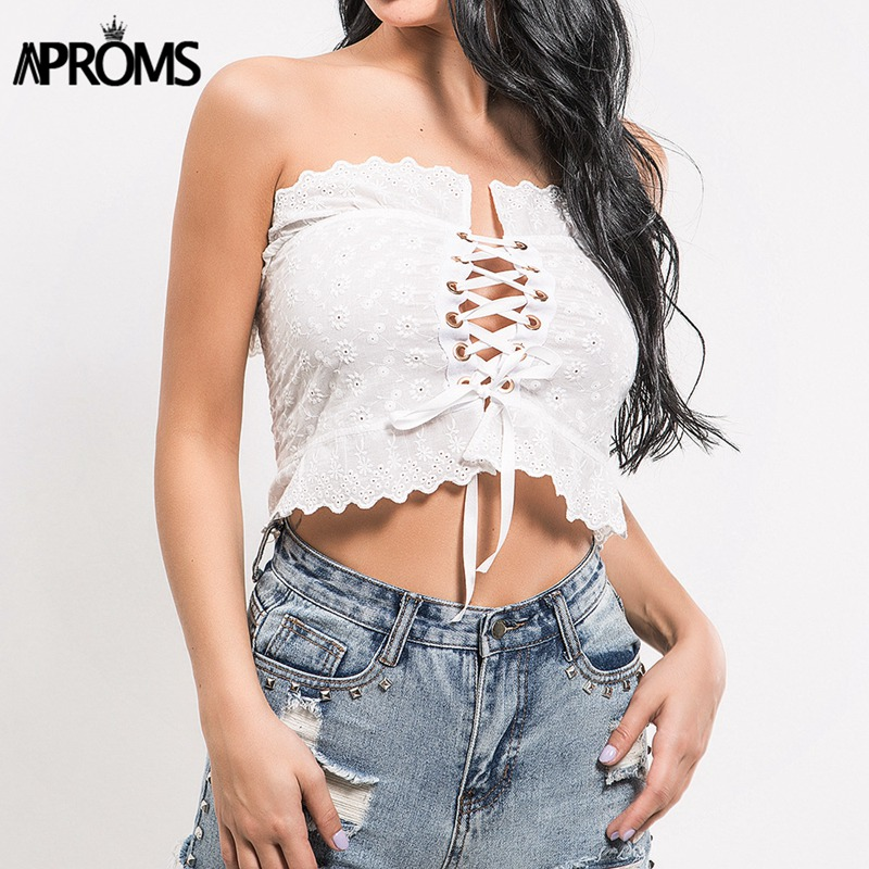 Aproms White Lace Ruffle Tube Crop Top Women Summer 2018 Streetwear Cool Lace Up Tank Tops Casual Off Shoulder Bow Tie Camis