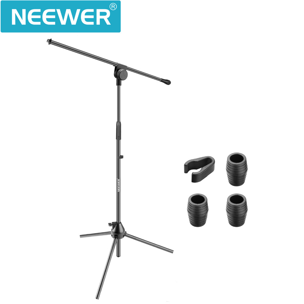 Neewer 3 Pieces Tripod Boom Floor Microphone Stands for Stage or Studio Use- Aluminum Alloy Foldable and Rotatable Adjustable neewer microphone
