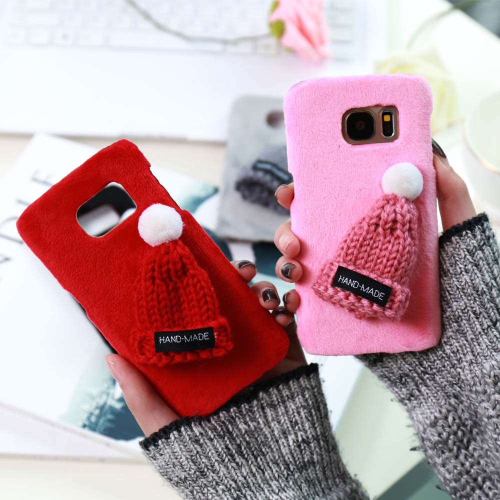 Christmas Samsung Galaxy S8 S7 S6 Edge Furry Knitting Hat Hard PC Cover For Galaxy S8 Plus Case Capinha