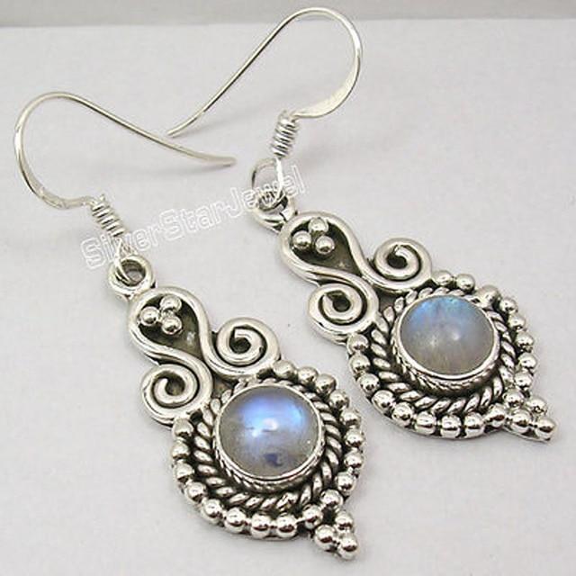 Solid Silver Fancy RAINBOW MOONSTONE ANTIQUE STYLE Amazing Earrings 4.4 CM