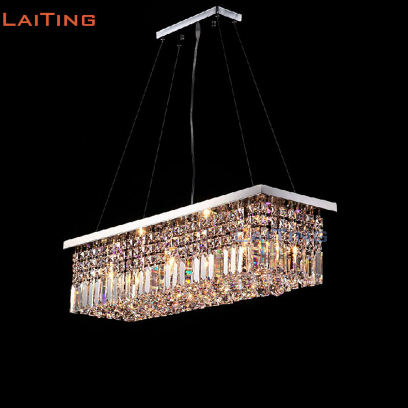 Rectangle Crystal Chandeliers Modern LED Pendant Lamps for Dining Room Restaurant Lighting modern crystal chandelier led hanging lighting european style glass chandeliers light for living dining room restaurant decor