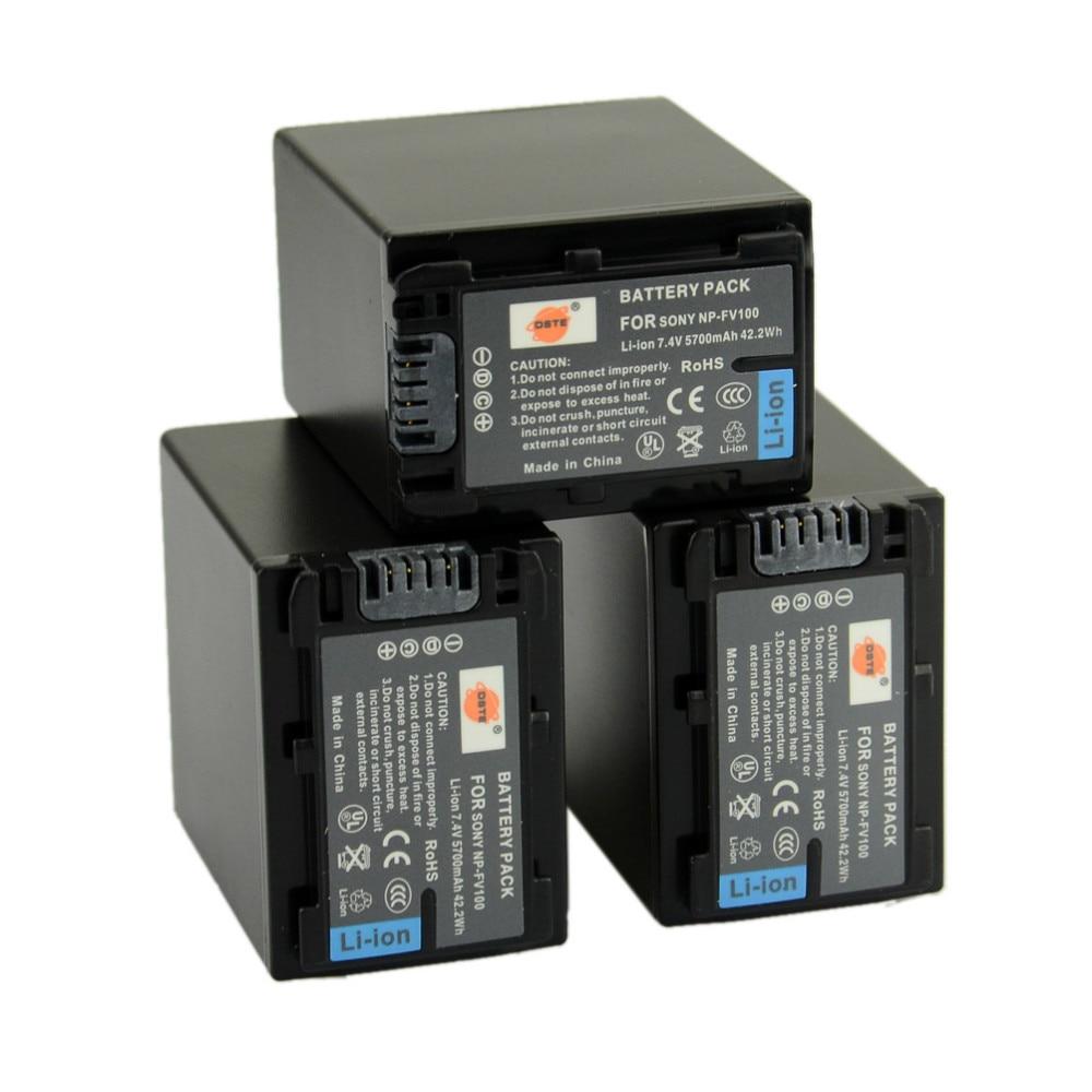 DSTE 3PCS NP-FV100 Rechargeable Battery for Sony CX150E CX180E PJ600E PJ30E PJ760E AX100E TD30E Digital Camera dste np fv100 7 4v 5700mah battery battery charger for sony camera black 100 240v