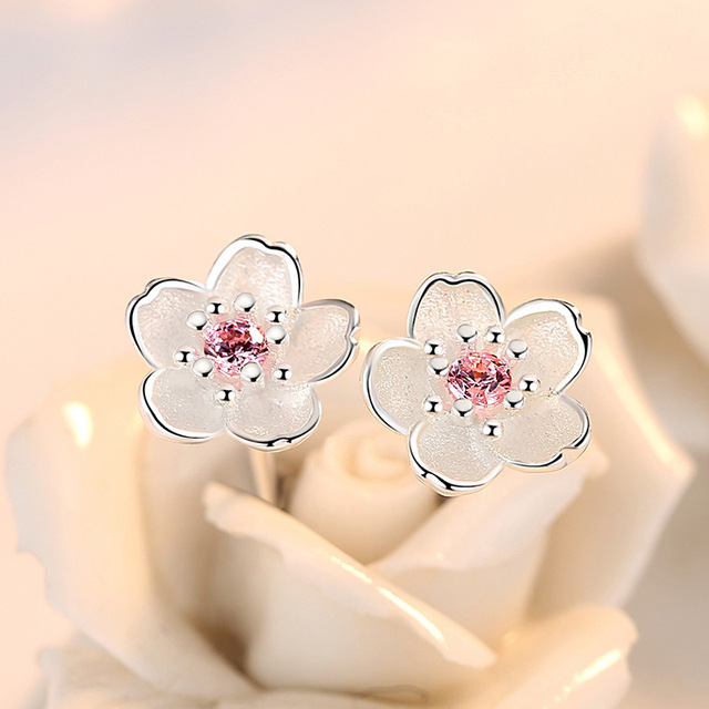 100% 925 sterling silver fashion Cherry blossoms flower crystal ladies`cute stud earrings women jewelry birthday gift cheap 3