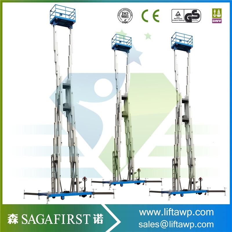 Usine prix 6 m à 14 m aérienne double mât en aluminium ascenseur plate-forme de travail