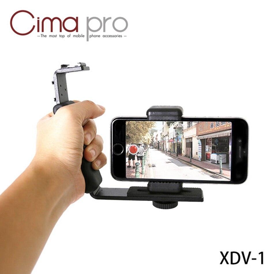 CimaPro XDV-1 Poignée Téléphone Portable Vidéo Enregistrement Stent Flash Lumière L Type Stand Double Hot Shoe Microphone DV Pour Smartphone IOS