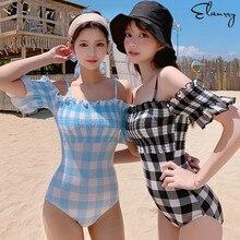 Swimsuit One-Piece Maillot-De-Bain Swim-Monokini Beach-Wear Push-Up Sexy Plaid Women