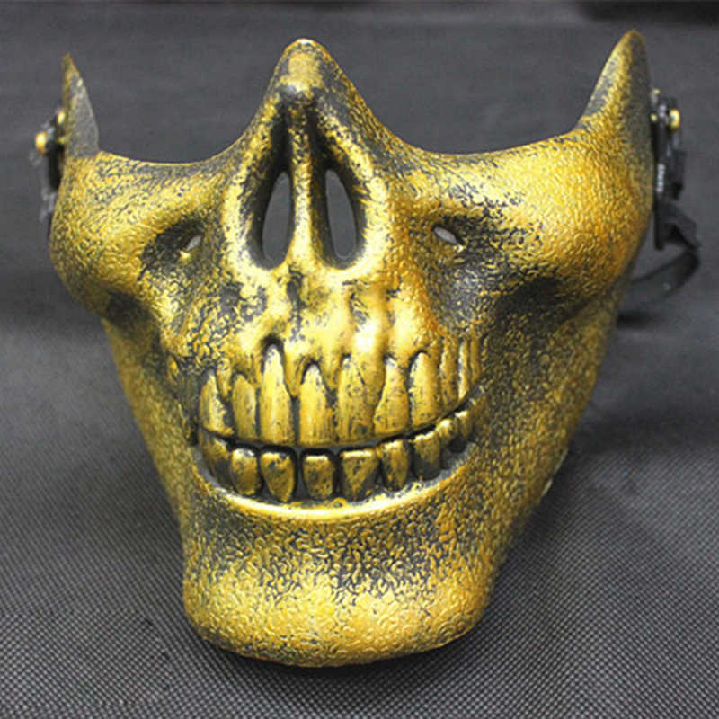 Пластиковый жуткий череп челюсть маска со страшным лицом Половина лица вздрогнутый человеческий скелет воина Призрак Маска для Хэллоуина вечерние TB продажа