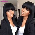 pullip synthetic wigs afro long straight black brown hair wig with bangs perruque femme long ladies wigs pelucas pelo natural