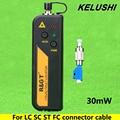 KELUSHI 30 mW Visual Fault Locator Fiber Optic Cable Tester LC/FC/SC/ST Adaptador de luz Roja de prueba de fibra óptica del detector de fallos